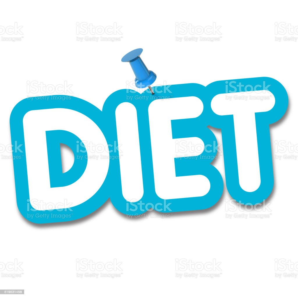 Diet label pinned to a plain white background stock photo