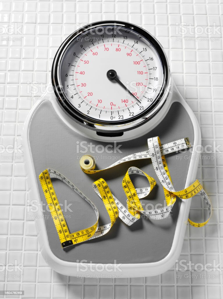Diet on Weighing Scales royalty-free stock photo