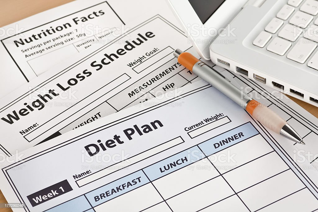 Diet Plan and Weightloss Schedule by Laptop royalty-free stock photo