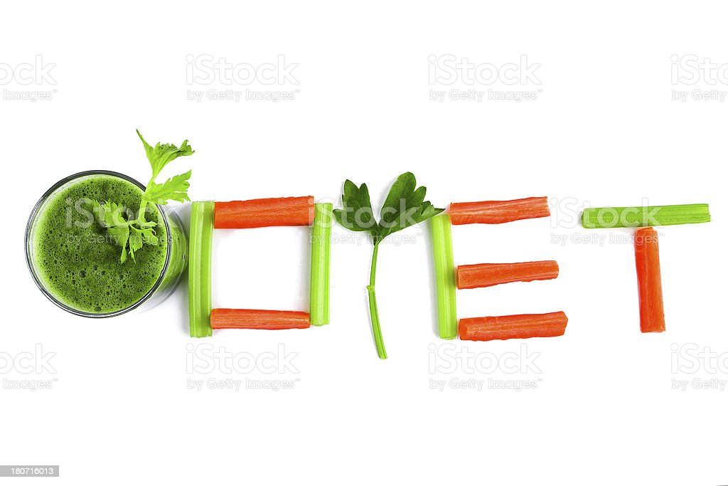 diet text and celery juice isolated on white background royalty-free stock photo