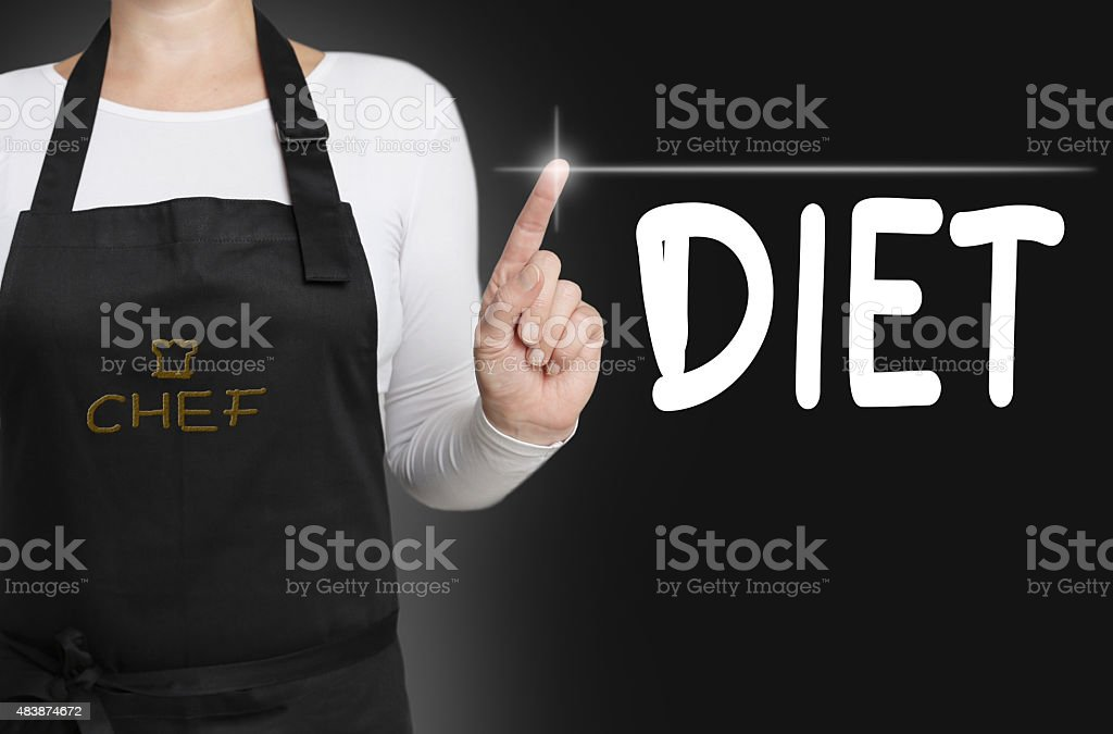 diet touchscreen is operated by cook stock photo