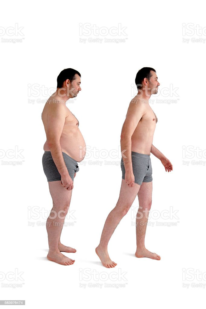 diet weight loss before and after concept man stock photo