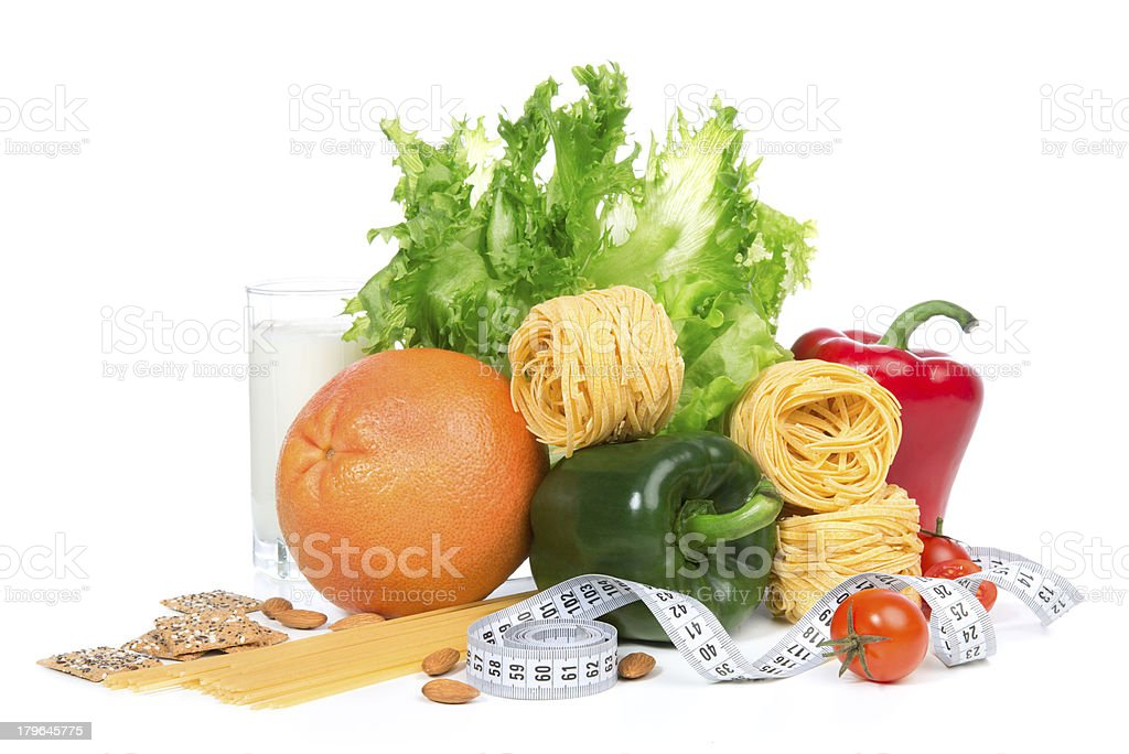 Diet weight loss breakfast concept with tape measure royalty-free stock photo