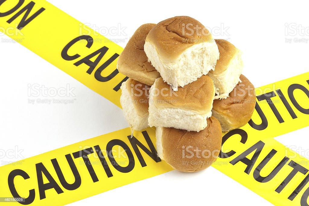 Dietary caution concept, gluten/wheat allergy warning stock photo