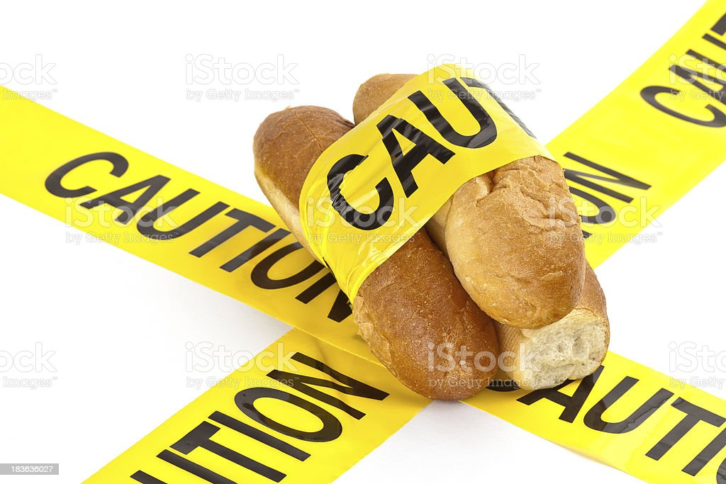 Dietary concept of allergy warning to gluten stock photo