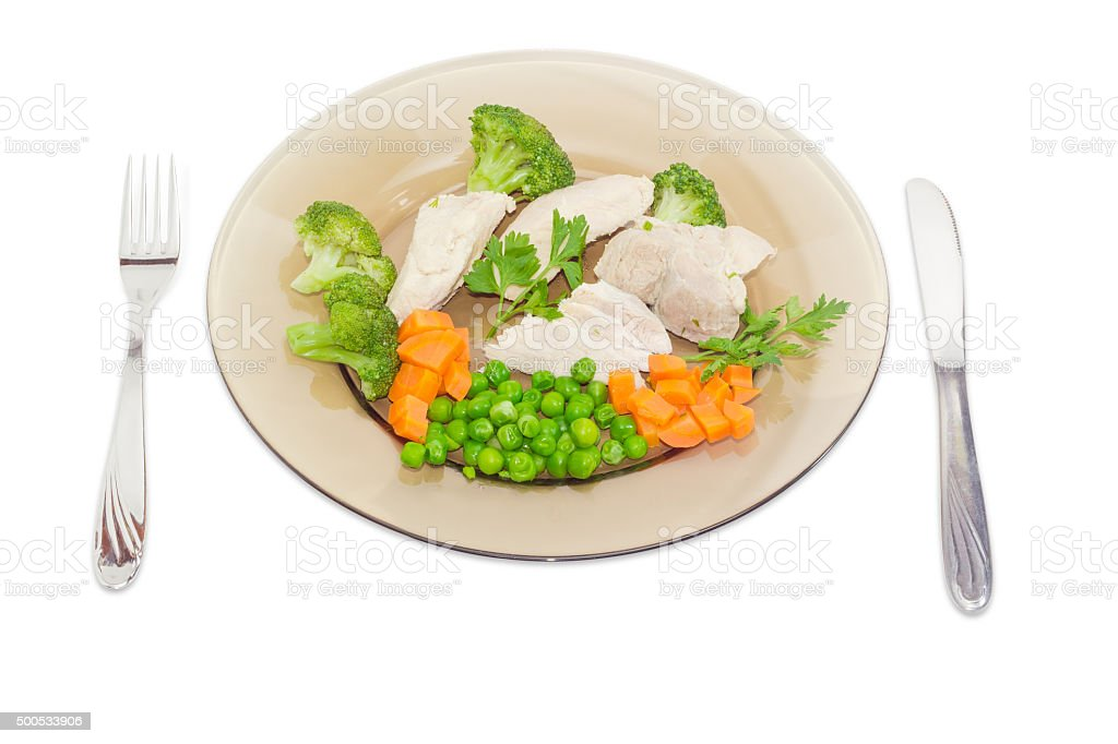 Dietary dish of boiled meat and vegetables stock photo