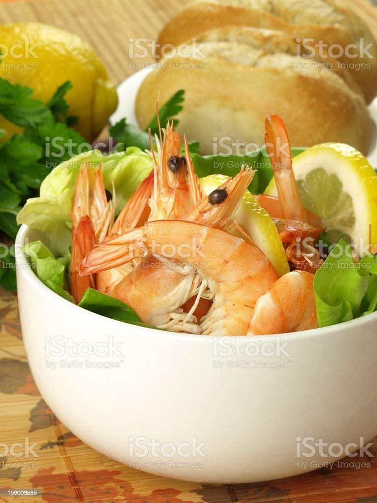 Dietary dish with prawns royalty-free stock photo