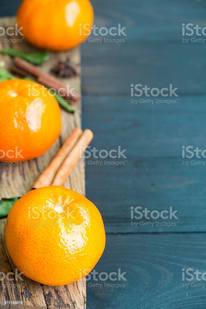 Speziellen Faser aus Mandarine-orange mit Duft auf Holz Lizenzfreies stock-foto