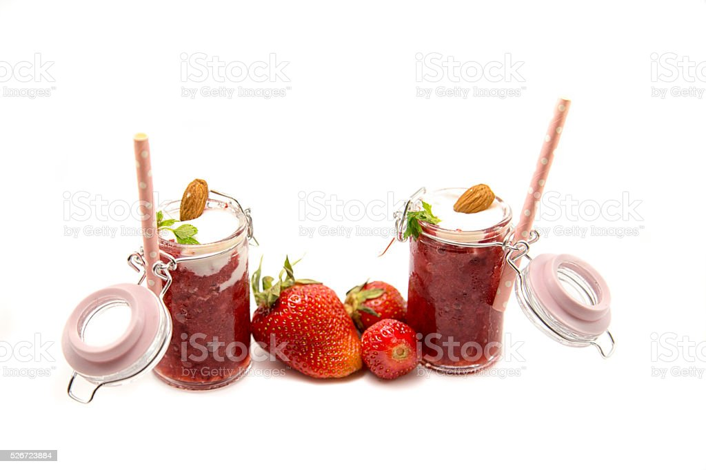 Dietary strawberries cocktail  isolated on white stock photo