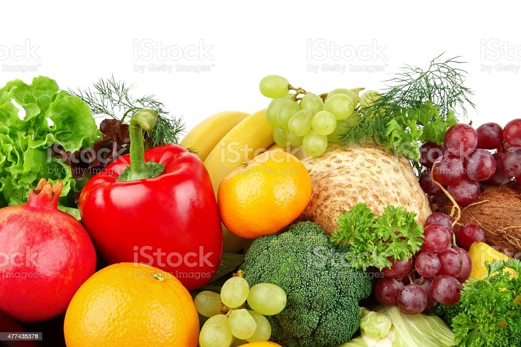 Dietetic set of paleo diet of vegetables and fruits stock photo