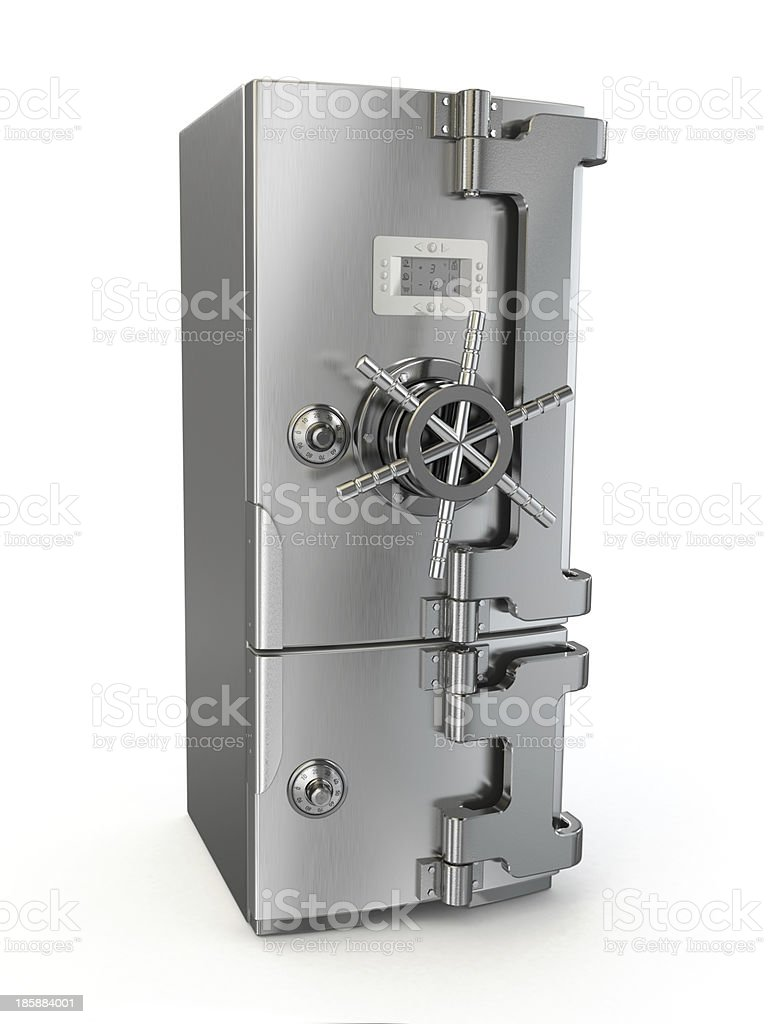 Dieting concept. Refrigerator as safe deposit box. royalty-free stock photo