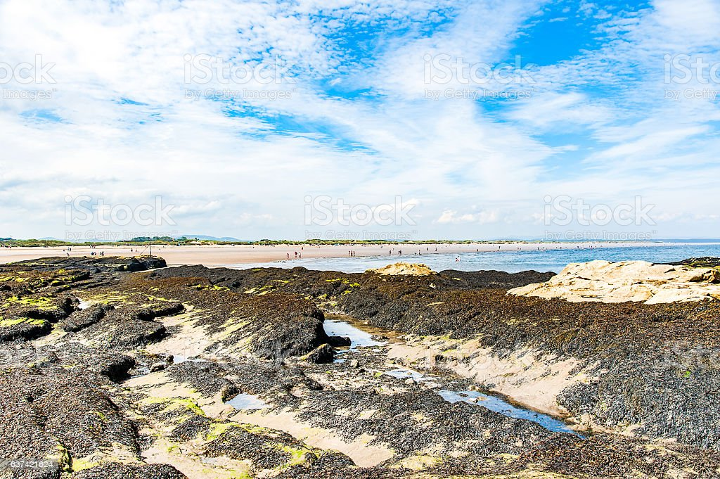 Diferents views of the St. Andrews beach in his bay stock photo