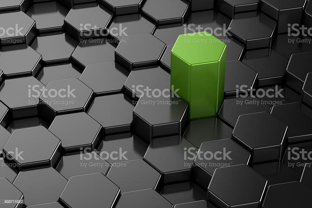 Different 3d hexagon shape stock photo