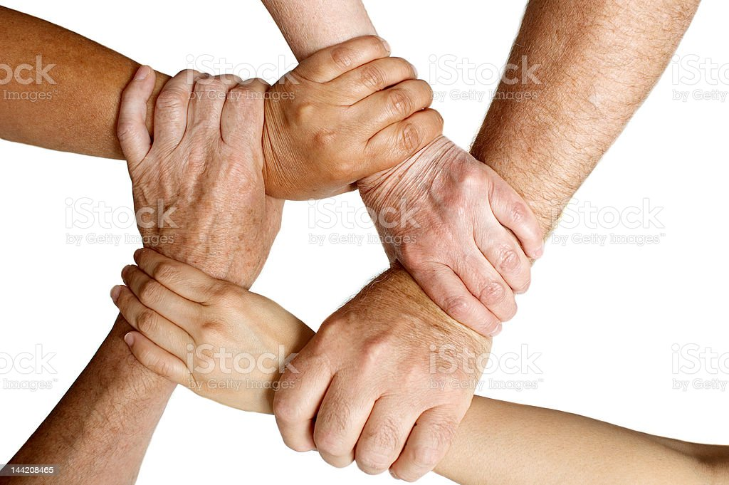 Different ages holding arms stock photo