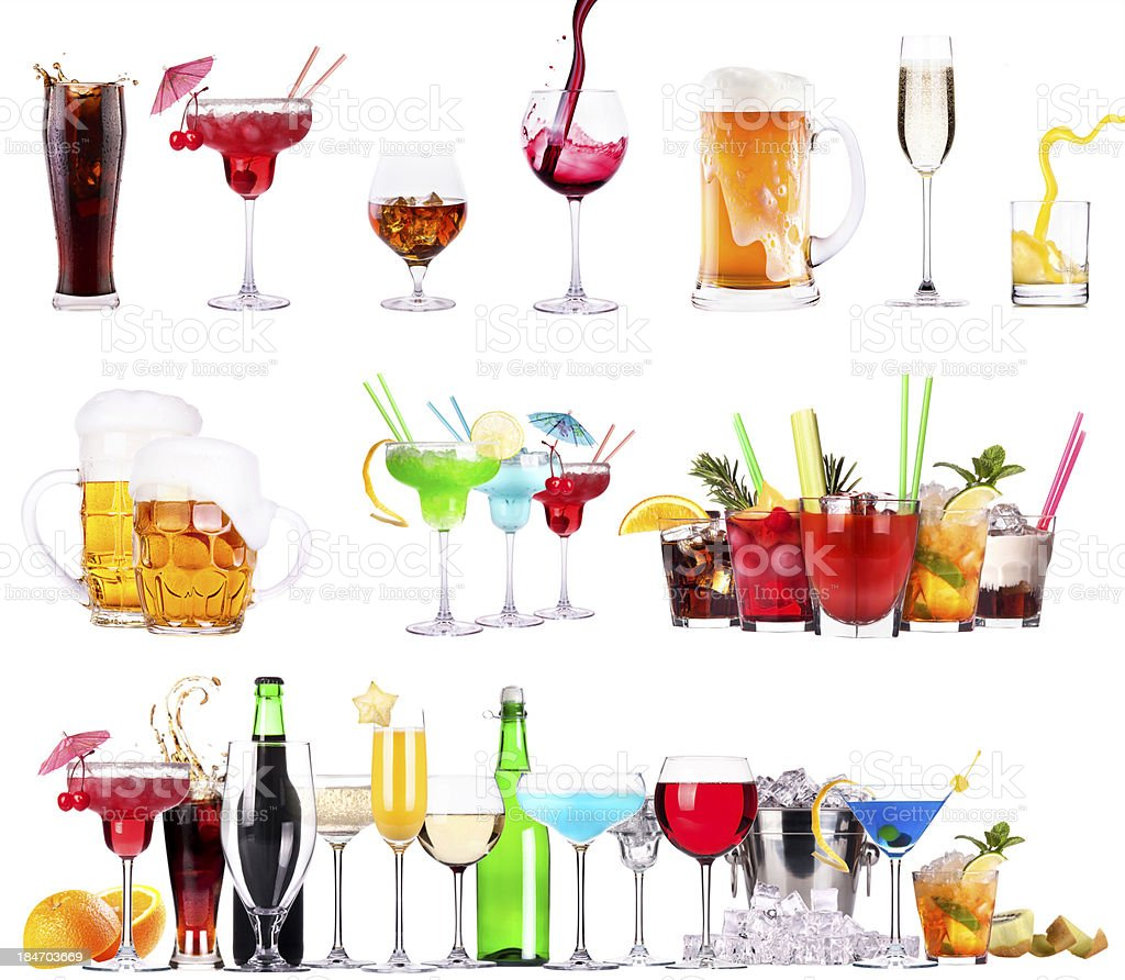 different  alcohol drinks set isolated royalty-free stock photo