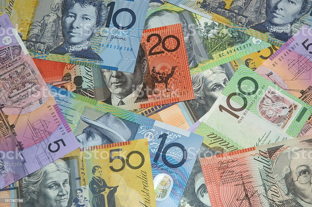 Different amounts of Australian currency  stock photo