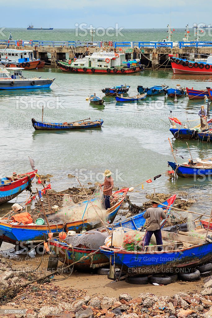 Different and colorful fishing boats in Vung Tau. royalty-free stock photo