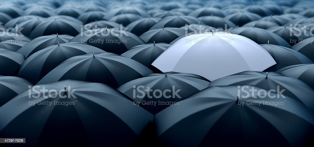 Different and special white umbrella stock photo