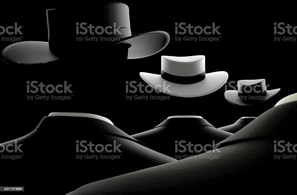 Different and unique Black Suited Man with white Hat stock photo