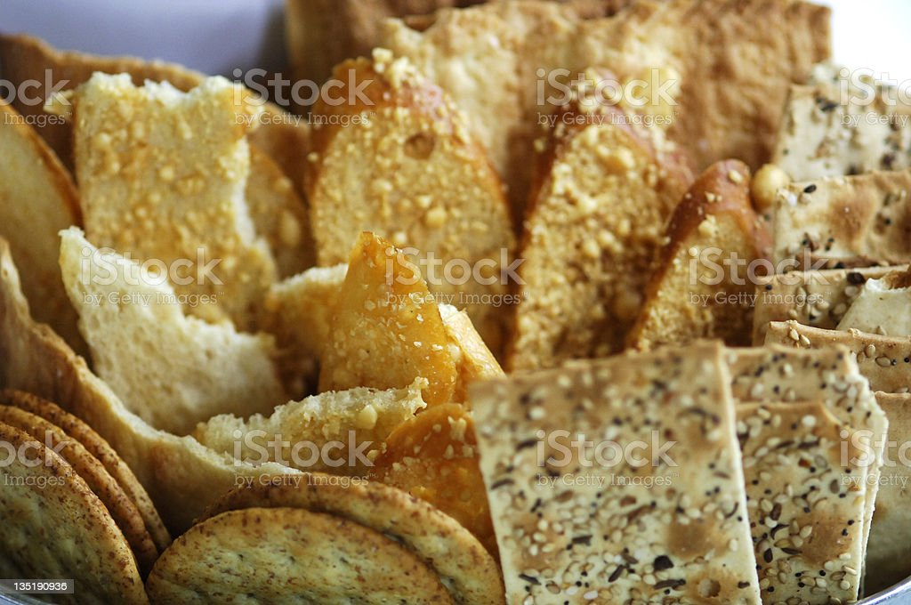 Different arrangement of Wheat crackers stock photo