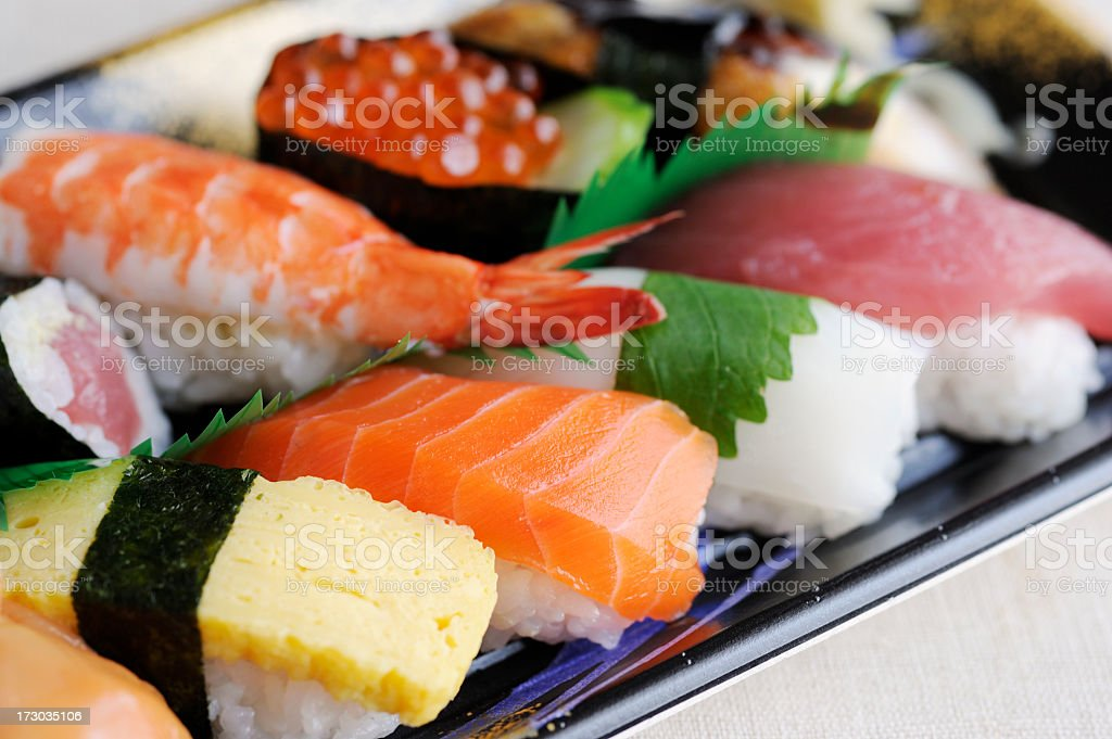 Different array of fresh sushi stock photo