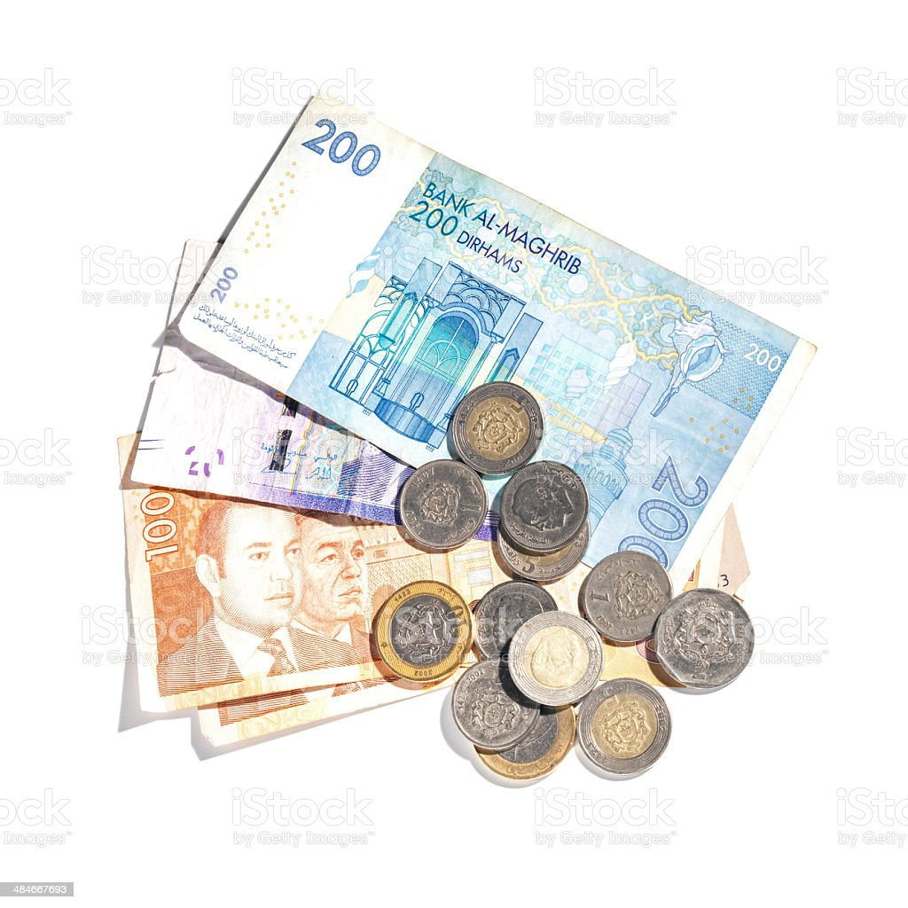 Different banknotes and coins. Moroccan money isolated on white royalty-free stock photo