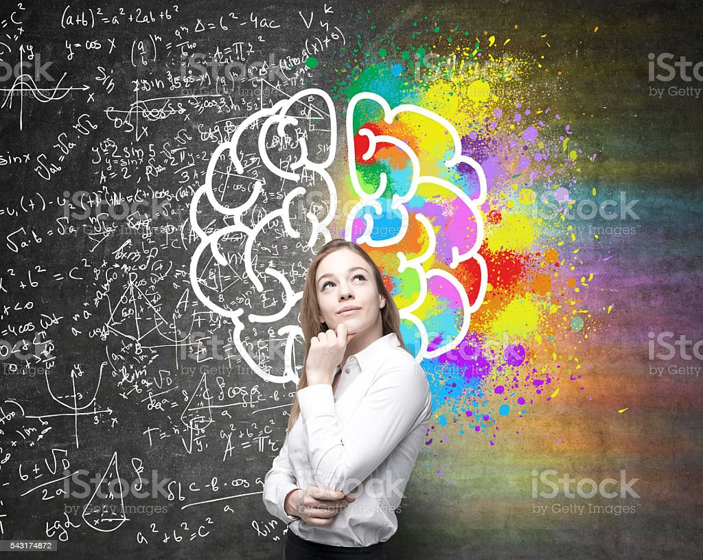 Different brain hemispheres stock photo