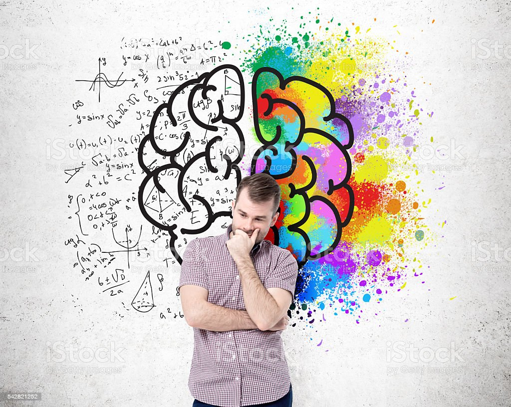 Different brain sides on wall stock photo