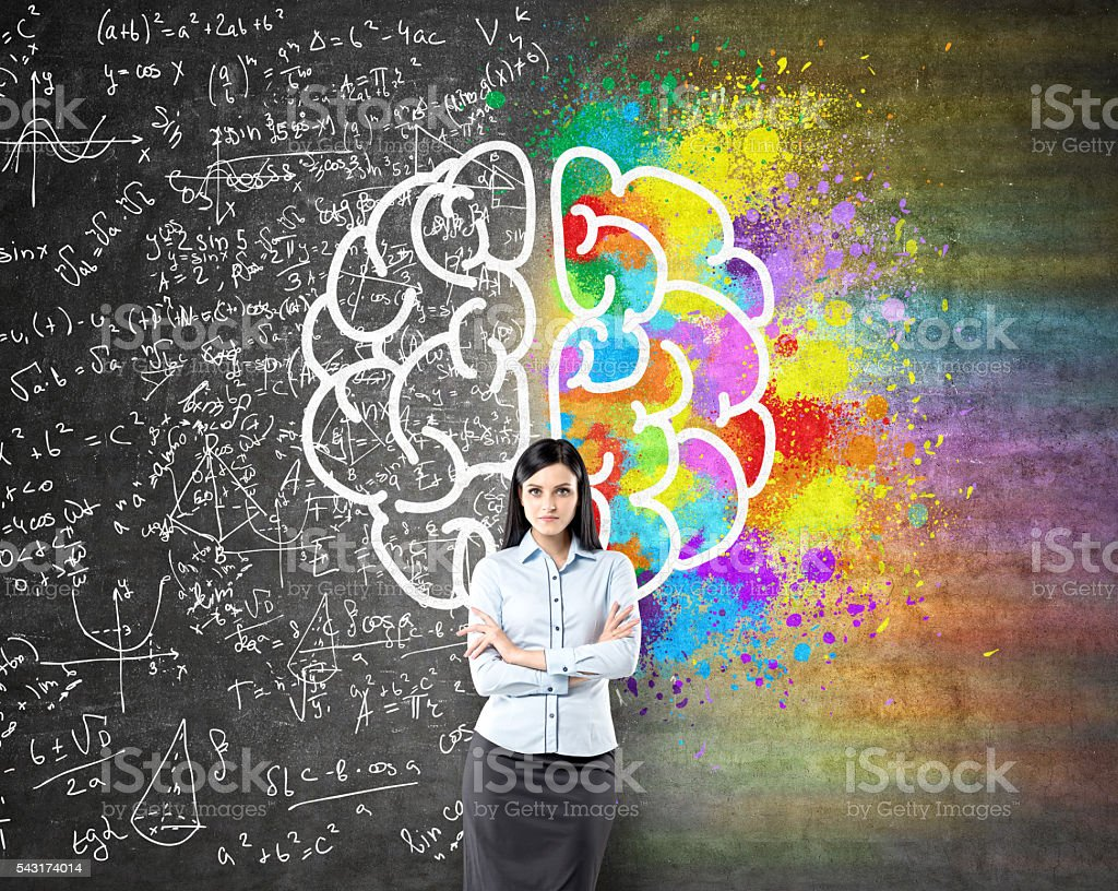 Different brains sides sketch stock photo
