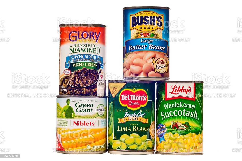 Different Brands of Canned Vegetables royalty-free stock photo