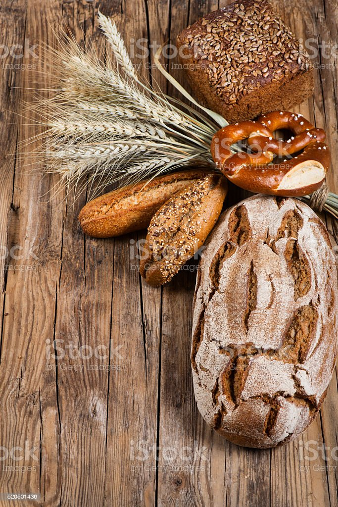 Different bread on table stock photo