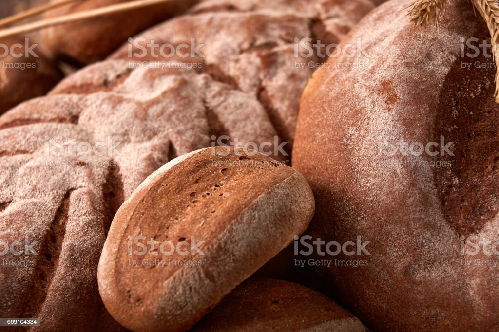 Different bread with buns like background stock photo