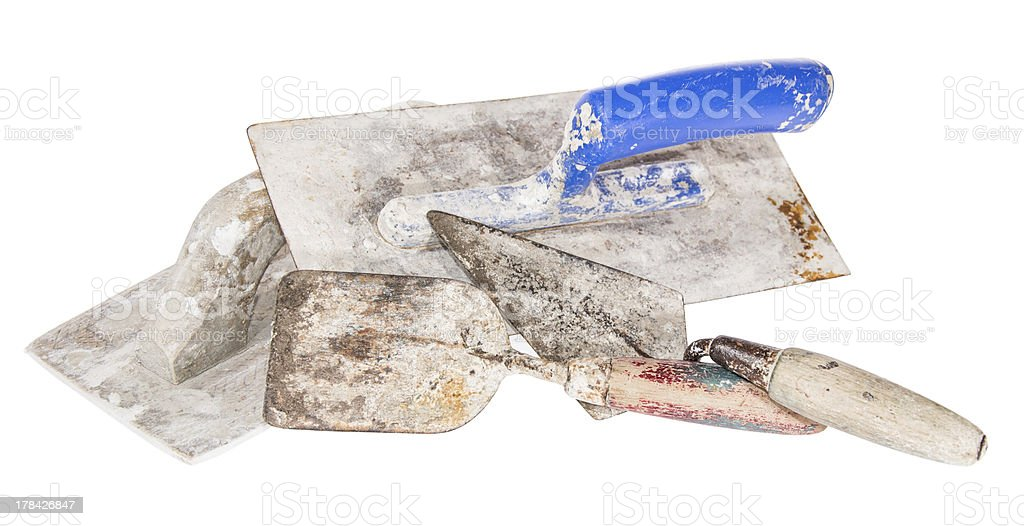 Different Brick Trowels isolated on white stock photo