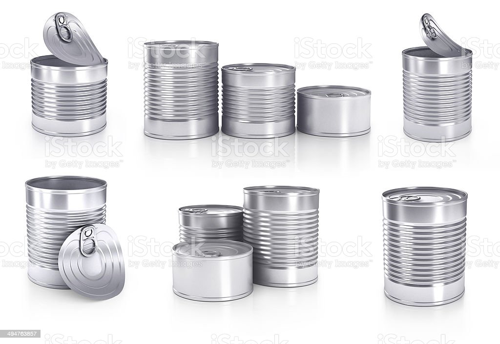 different cans isolated on white stock photo