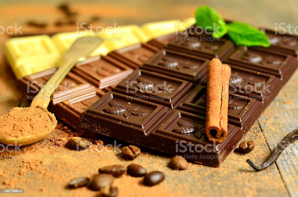 Different chocolate bars. stock photo
