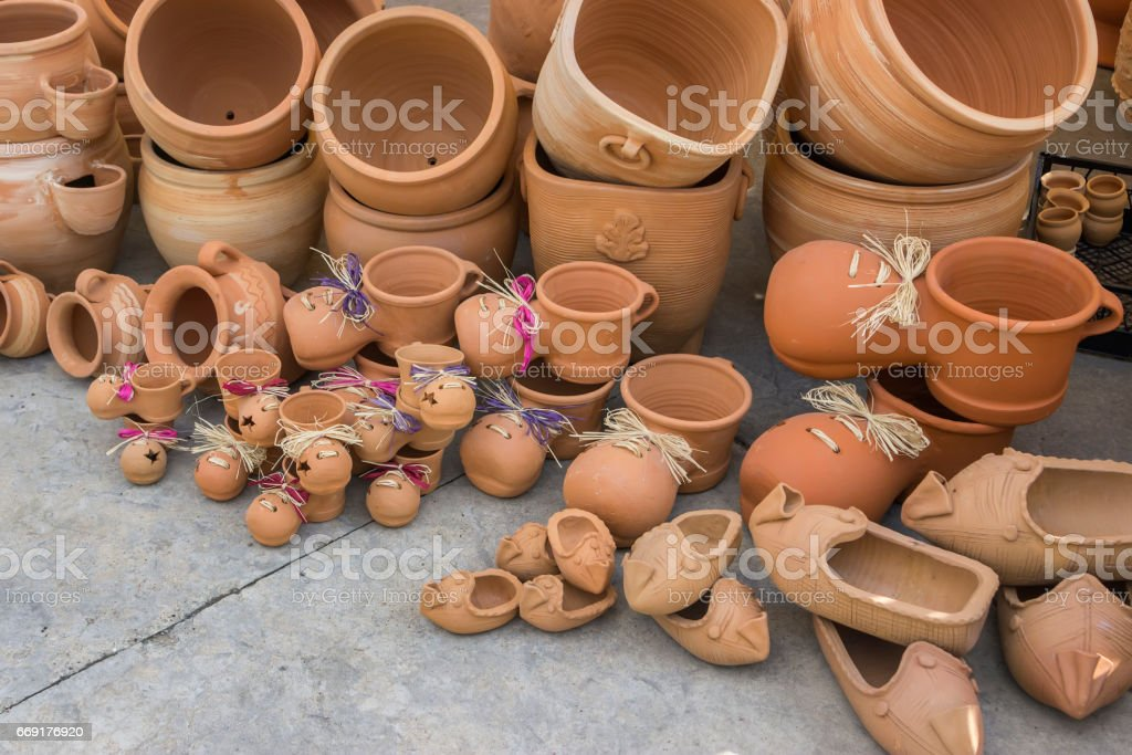 Different clay pots stock photo