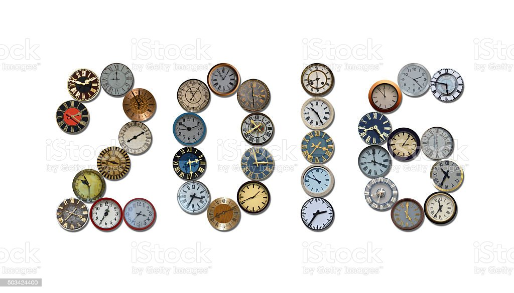 different clocks showing 2016 stock photo
