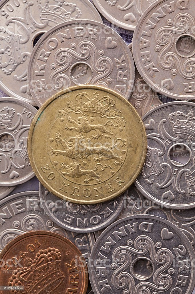 Different coins of Danish money stock photo