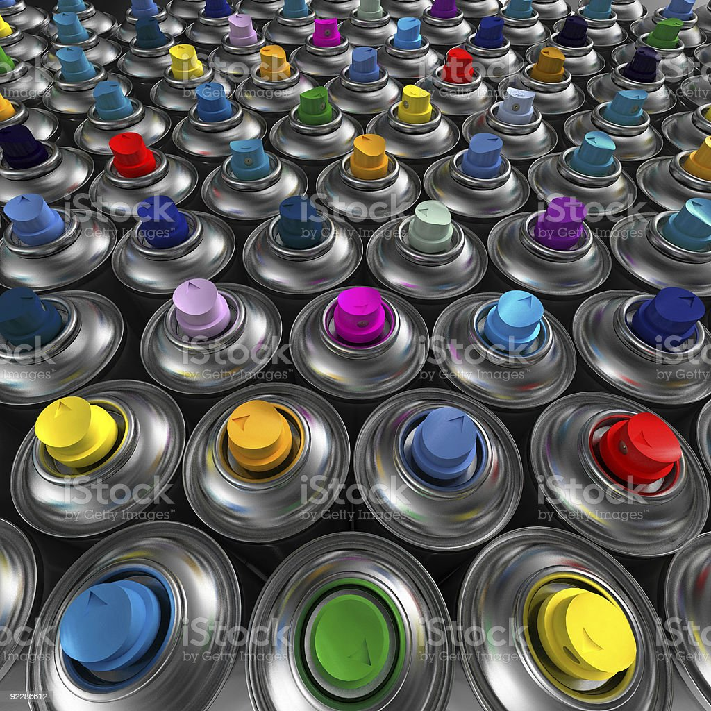 Different color aerosol spray cans stock photo