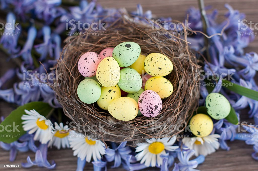 Different color Easter eggs stock photo