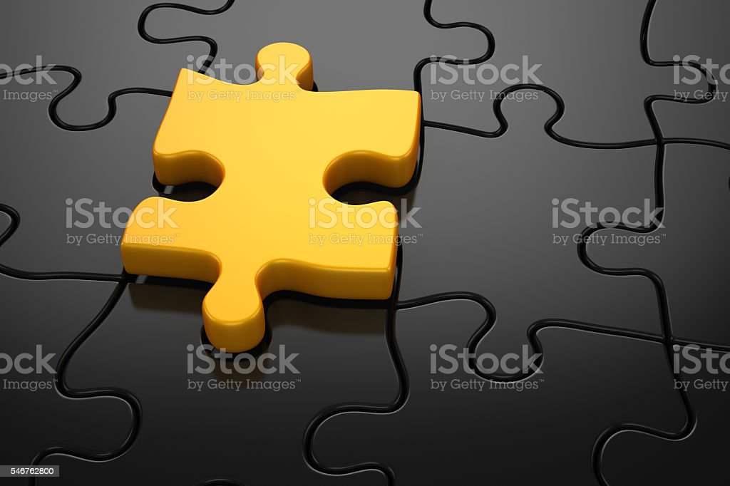 Different color puzzle piece stock photo