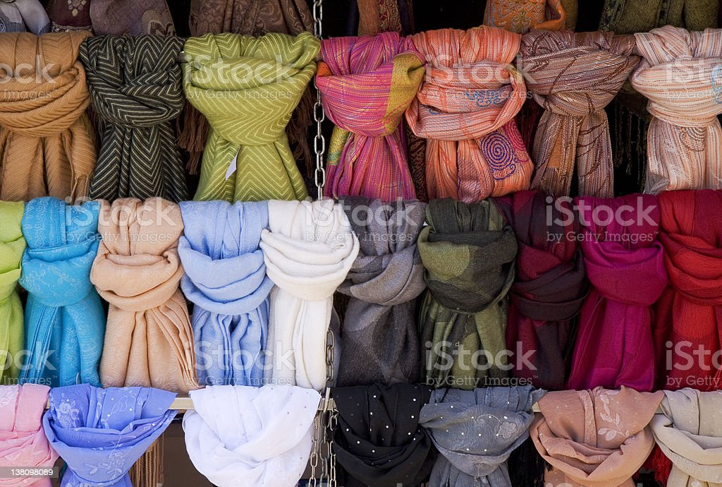 Different color scarves arranged royalty-free stock photo
