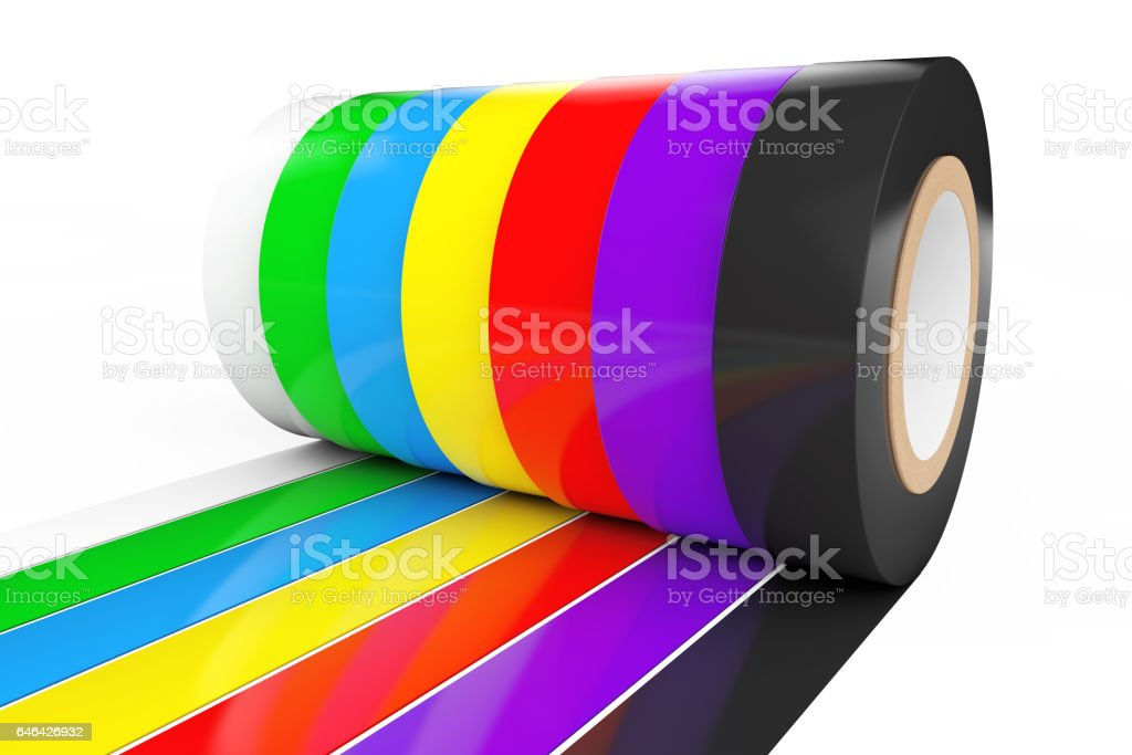 Different Colored Adhesive Insulating Tape. 3d Rendering stock photo