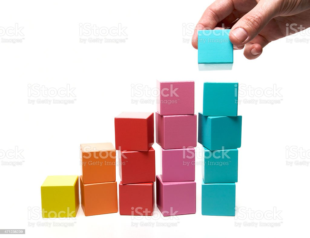 Different colored blocks forming bars stock photo