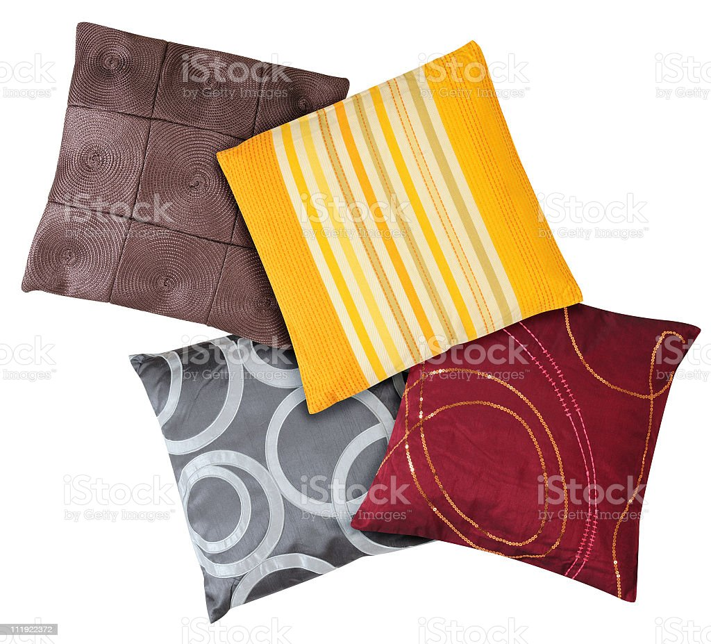 Different colored cushions on a white background royalty-free stock photo