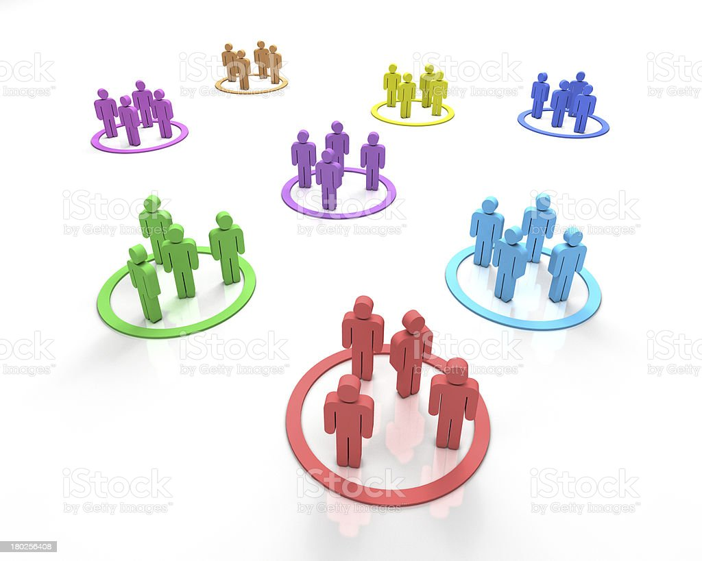 Different colored teams of three 3D figures stock photo