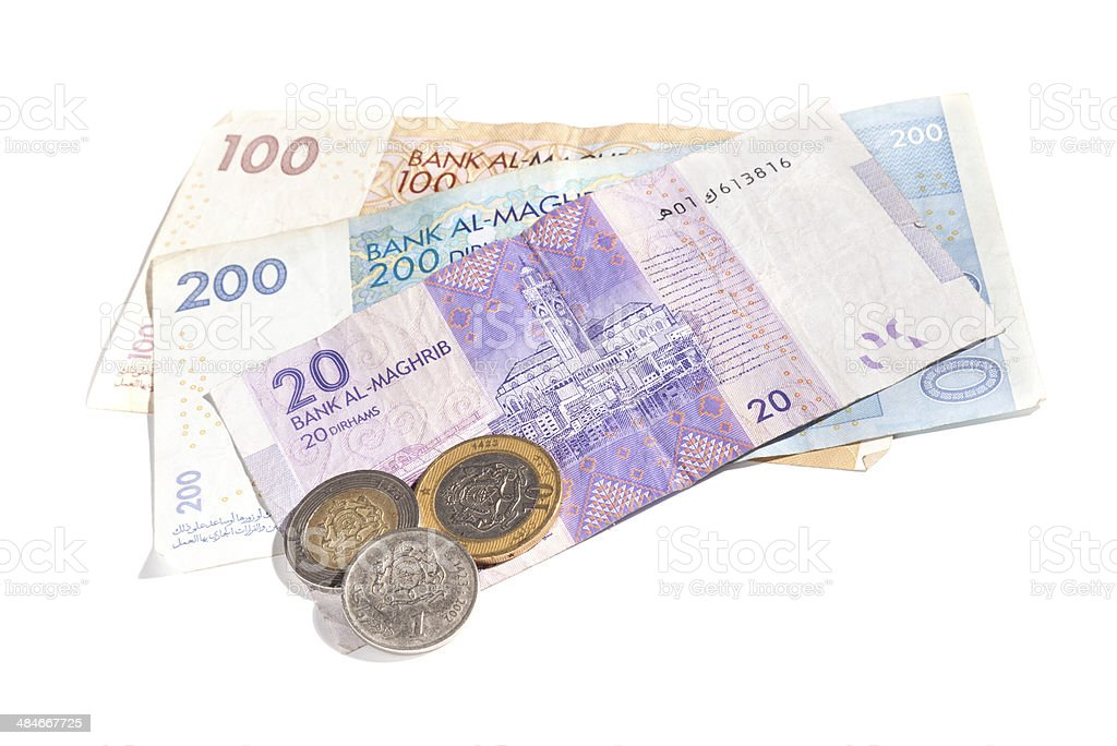 Different colorful banknotes and coins. Moroccan money isolated royalty-free stock photo
