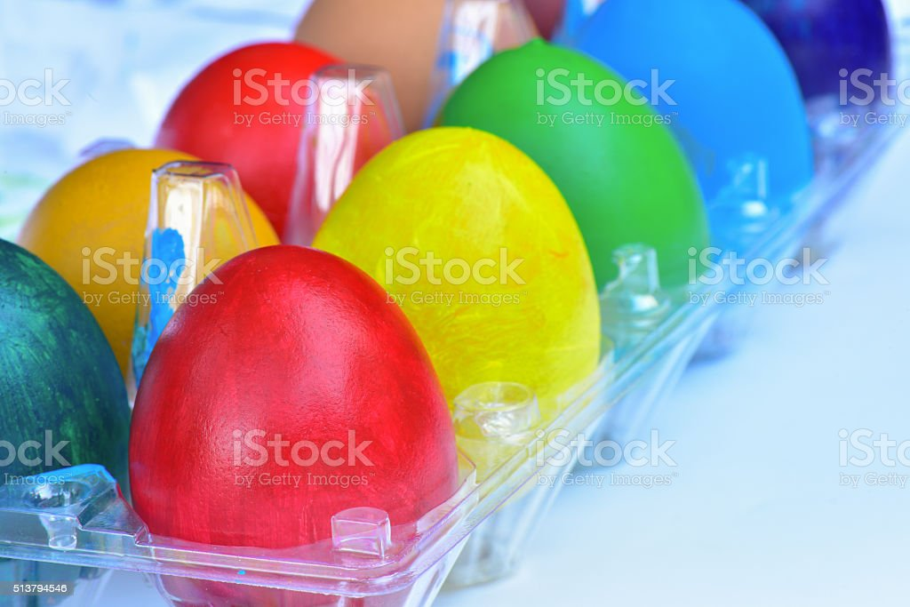 Different colorful Easter eggs stock photo