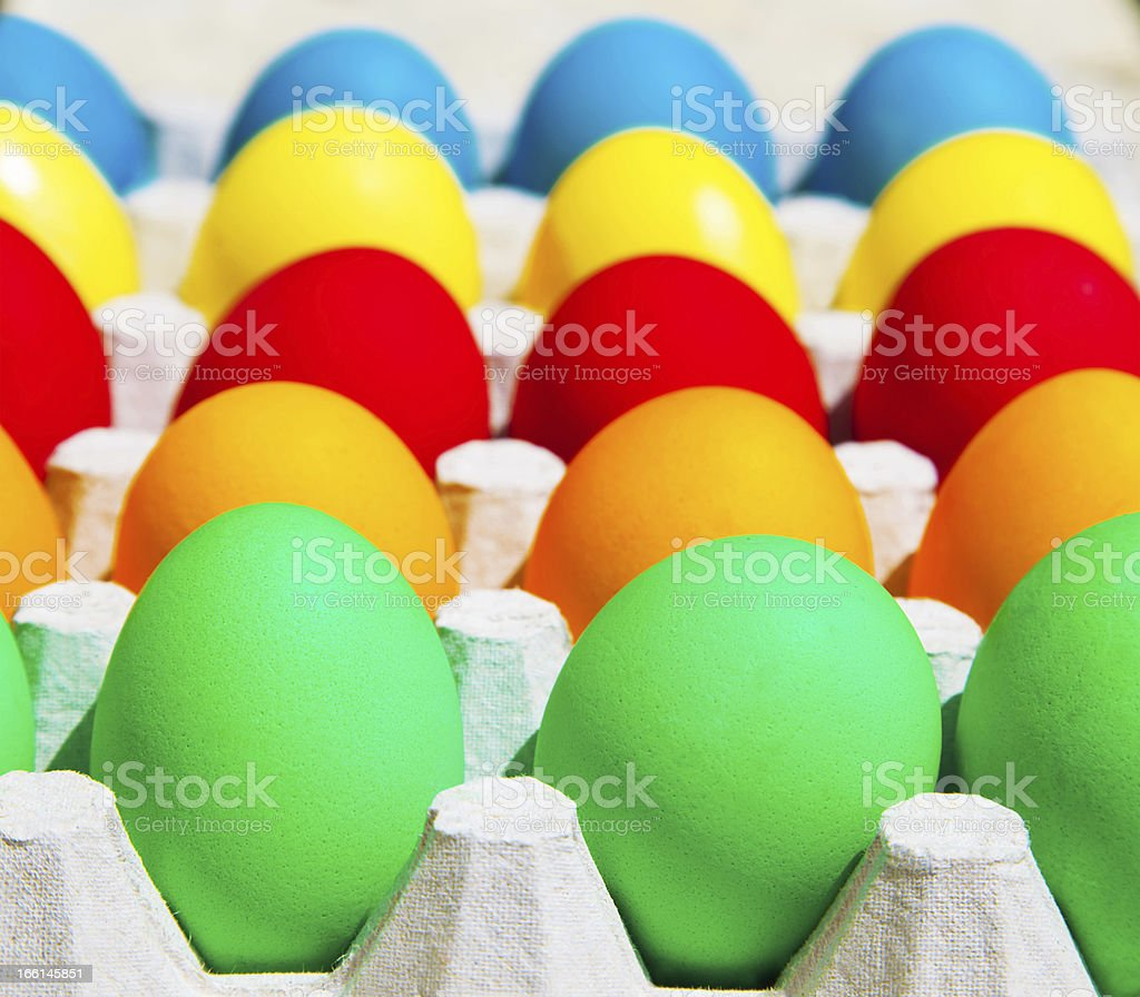 Different colors Easter eggs royalty-free stock photo