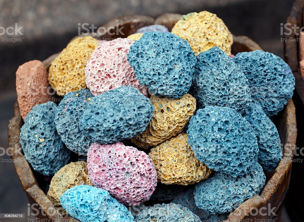 Different colors of pumice stone in shop. stock photo